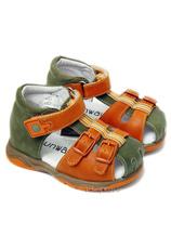 Sunway® Sandale piele Kaki-Oranj